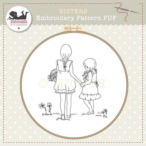 """Embroidery Pattern - PDF - """"Sisters"""" on Etsy, $5.57 CAD"""