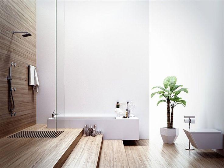 Bagno minimalista stile asiatico con pareti bianchi in coppia con pavimenti e sfondo doccia in bambù per un'atmosfera rilassante