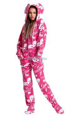 footie pajamas for women | … Footed Pajamas Footie PJs One Piece Adult Pajamas