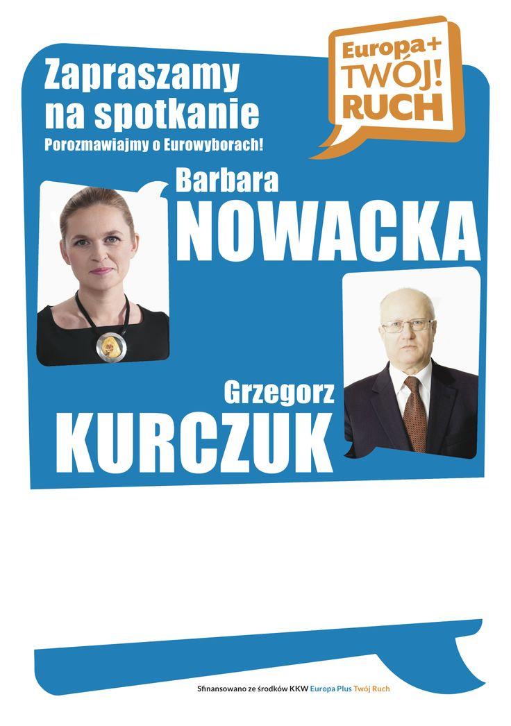 Plakat zapraszający na spotkanie z Barbarą Nowacką i Grzegorzem Kurczukiem