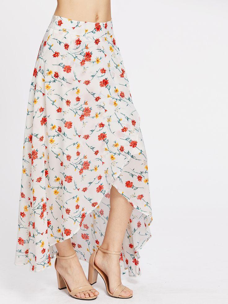 Falda asimétrica con estampado de flor y cremallera en la parte lateral-(Sheinside)