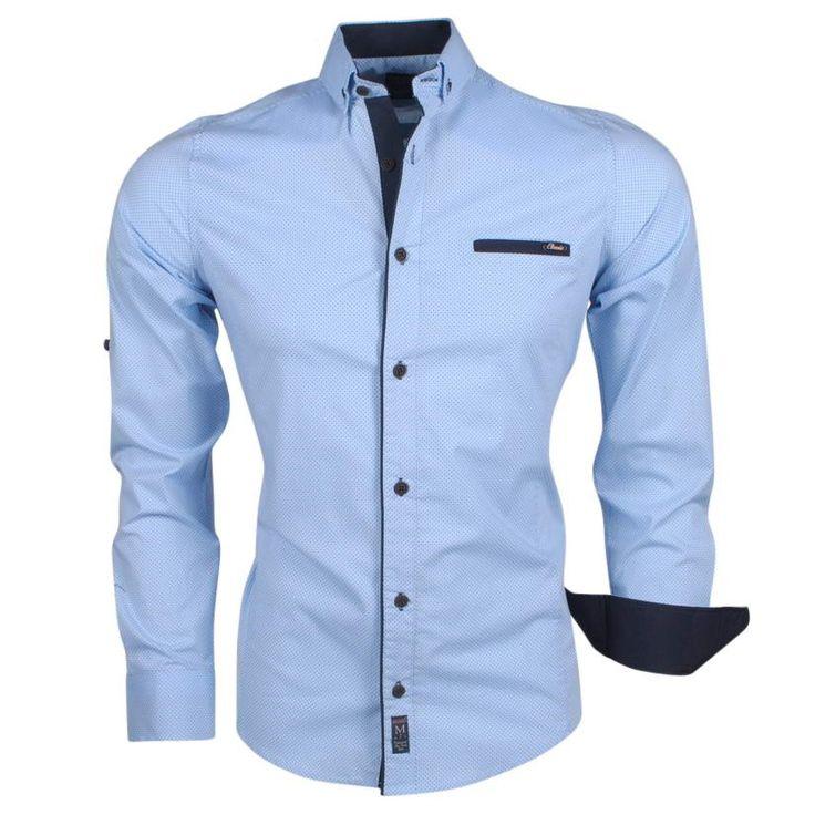 Megaman - Trendy Herren Hemd mit Blauen Punkt  Motiv - 1050 - Hellblau