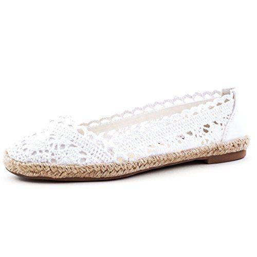 Damen Espadrilles Ballerinas Sommer Slipper Schuhe in Textil Häkeloptik mit Bast