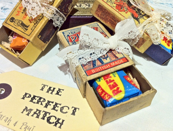 'Perfect Match' Vintage Wedding Favour ideas from www.somethingoldsomethingnew.org.uk