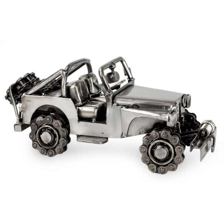 Novica Auto Part Statuette, 'Rustic Off-Road Jeep'