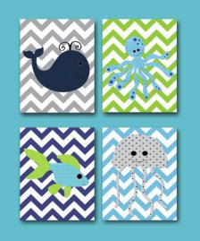 sea inspired girls rooms - so cute for room art.