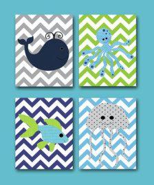 boy nursery yellow blue green grey | Sea Fish Whale Baby Boy Nursery art print Children Wall Art Baby Room ...