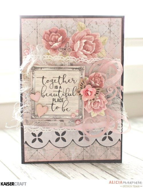 'P.S I Love You' Card by Alicia McNamara Design Team for Kaisercraft using their 'P.S. I Love You' collection. saved from kaisercraft.com.au/blog - Wendy Schultz - Cards 1.