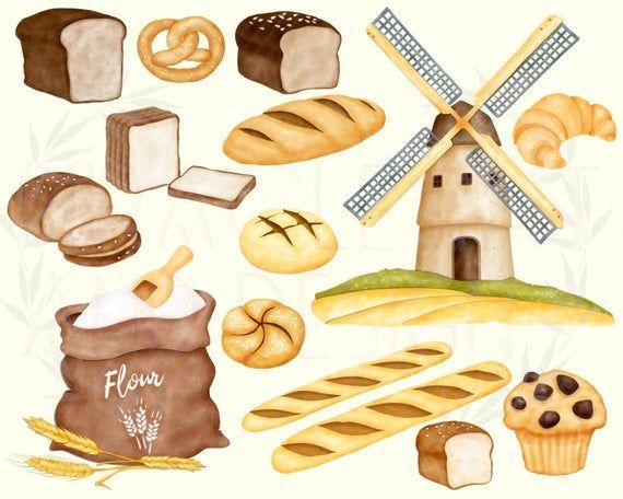 Bretzel Snack Pastry Clipart M\u00fchle Watercolor Clipart B\u00e4ckerei Clipart Br\u00f6tchen Toast Mill Bakery Clipart Brot Bread Clipart