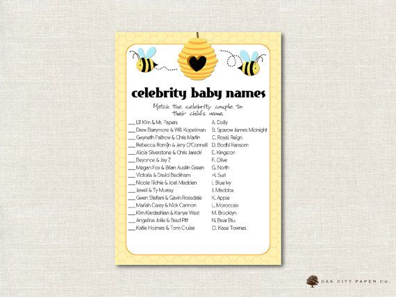 Honey Bee Celebrity Baby Shower Game   Bee Celebrity Baby Name Game,  Celebrity Baby Name Quiz, Celebrity Baby Match Game, Printable, DIY