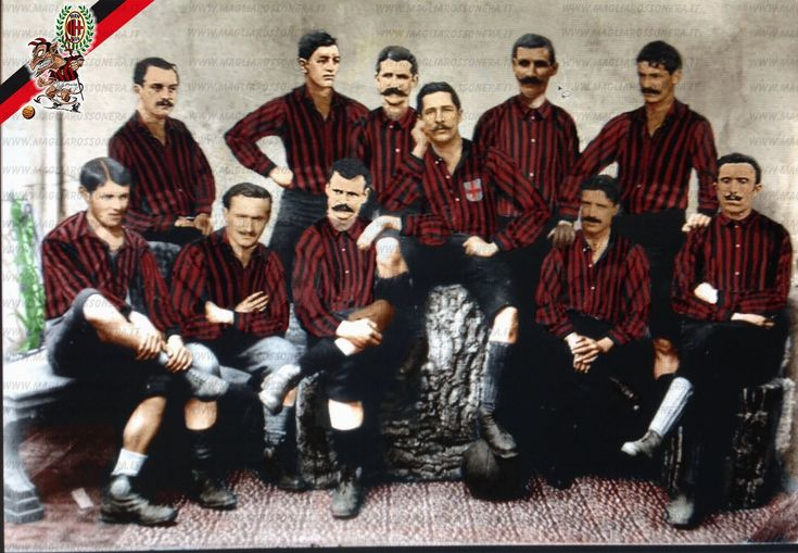 1° Titolo Campione d'Italia Milan Campionato di calcio 1900-1901 foto ricolorata