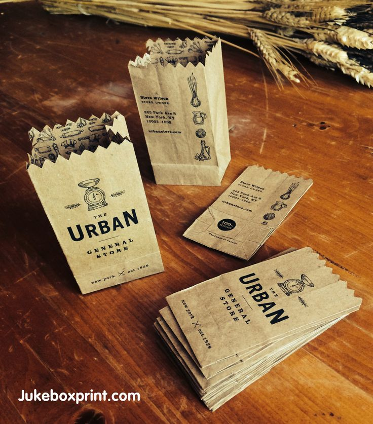 Crafty folded business card turns into a mini brown paper bag. #jukeboxprint #businesscards