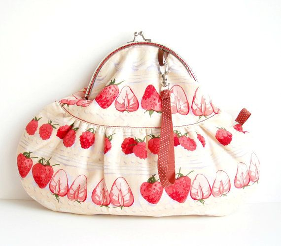 Strawberry Purse Eye Candy Red Cream by microbio on Etsy, €33.00