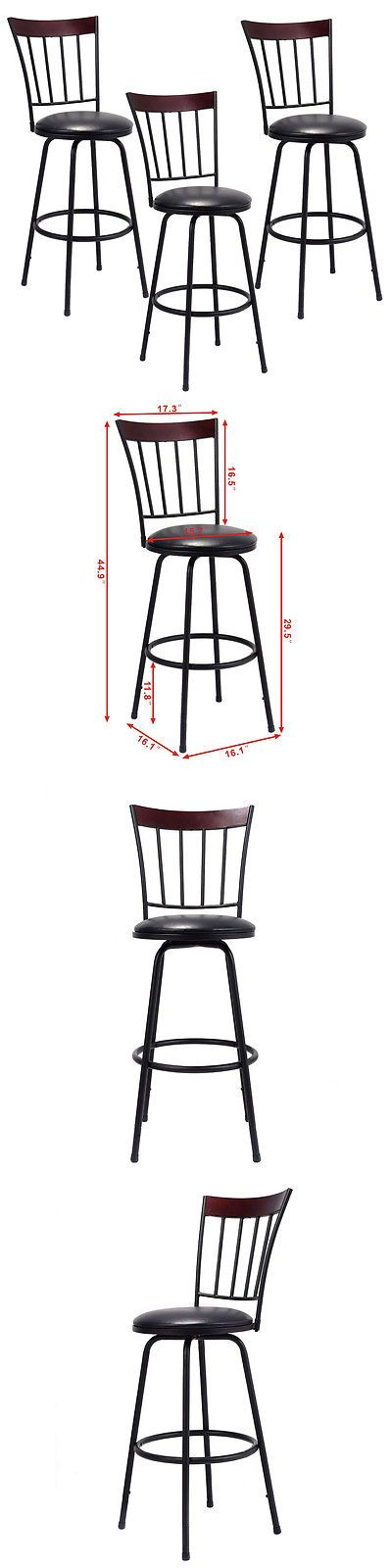 Bar Stools 153928: Set Of 3 Swivel Bar Stools Pu Leather Steel Frame Barstool Bistro Pub Chair New -> BUY IT NOW ONLY: $89.99 on eBay!