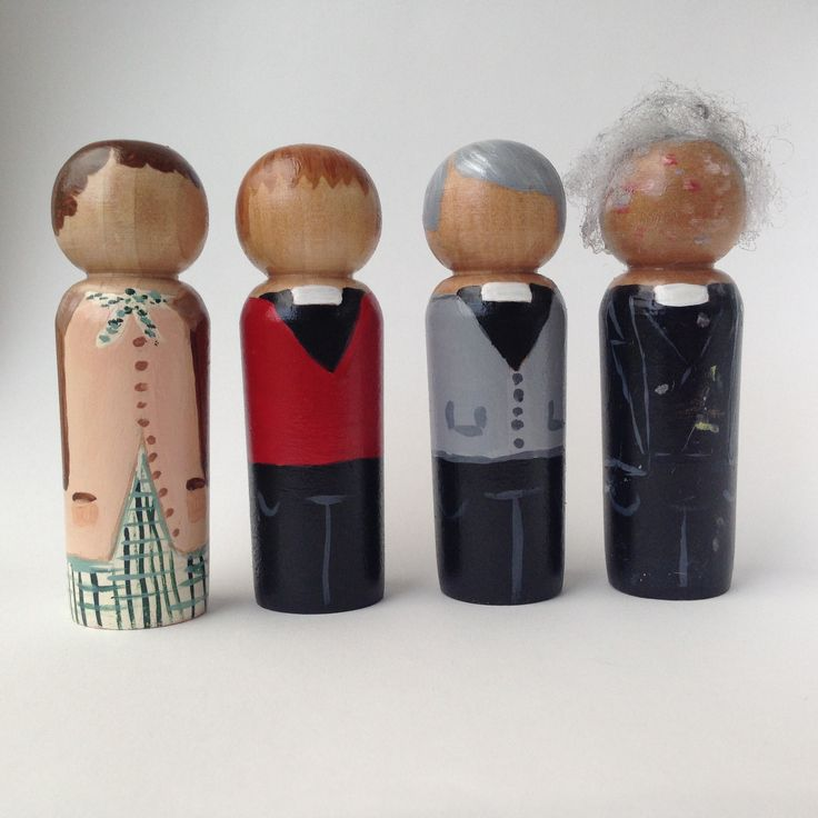 Father Ted, character wooden peg dolls, Fan art
