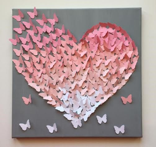 3D Butterfly Wall Art ,Light Pink on Grey Classic Butterfly Heart , Nursery Art, Baby Girl  Bring your home to life with this 3D canvas art. As this whimsical butterfly art floats off the page, it will help make your house feel more and more like home. Colors and patterns are customizable to match any décor. All of our products are handcrafted with care and are made-to-order so that your space feels just like home. Dont see canvas art that fits what youre looking for? Ask us about whipping…