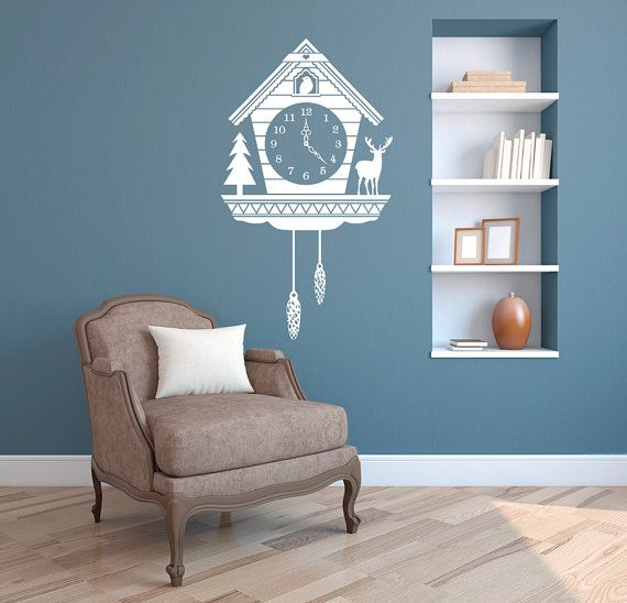 Rustic Cuckoo Clock Wall Decal - Custom Vinyl Art Stickers for Interiors, Homes, Living Rooms, Apartments, Dorms, and Bedrooms