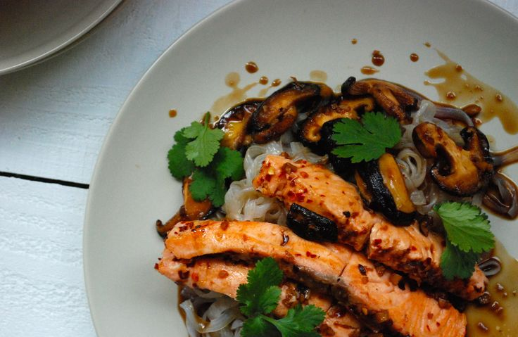 Chilli salt salmon w sweet soy dressing and Konjac fettucine