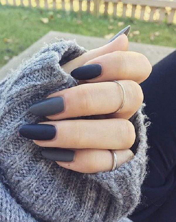 Amazing matte dark blue nail art design. What makes the rather plain design look great is because of its simplicity and the soft yet dark color of the blue on the nail polish. It is dark but subtle and looks warm on the nails.