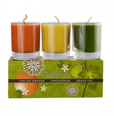 GMOs-Free, Vegan, Eco-Friendly and Cruelty-Free     Stella Mare's three mini pots of pleasure in each set. A delightful gift which will charm anyone with its fragrance and its beautiful packaging that defies giftwrap.    Italian Orange - Lemongrass - Green Fig