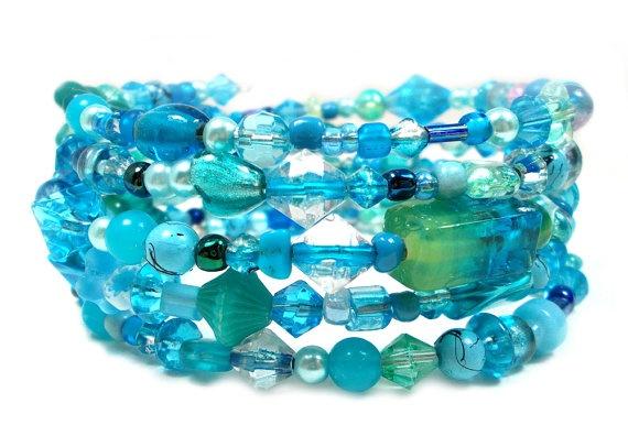 Blue Hawaiian, Memory Wire Bracelets, Plus Size Bracelet, Plus Size Jewelry