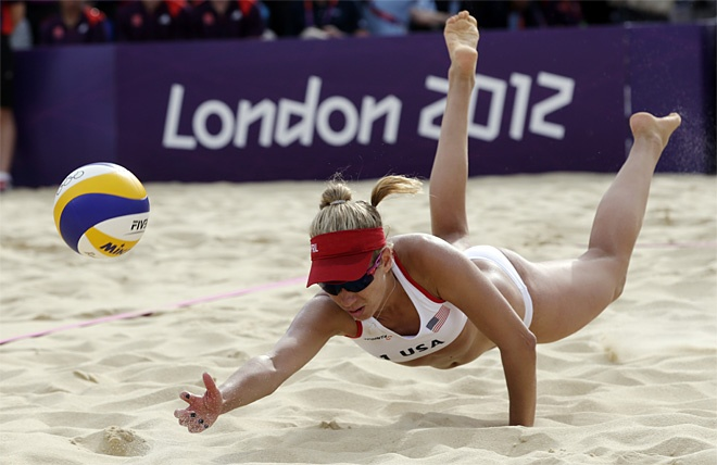 London Olympics Beach Volleyball Women    April Ross of the United States dives but can't get to the ball against Spain during a beach volleyball match at the 2012 Summer Olympics
