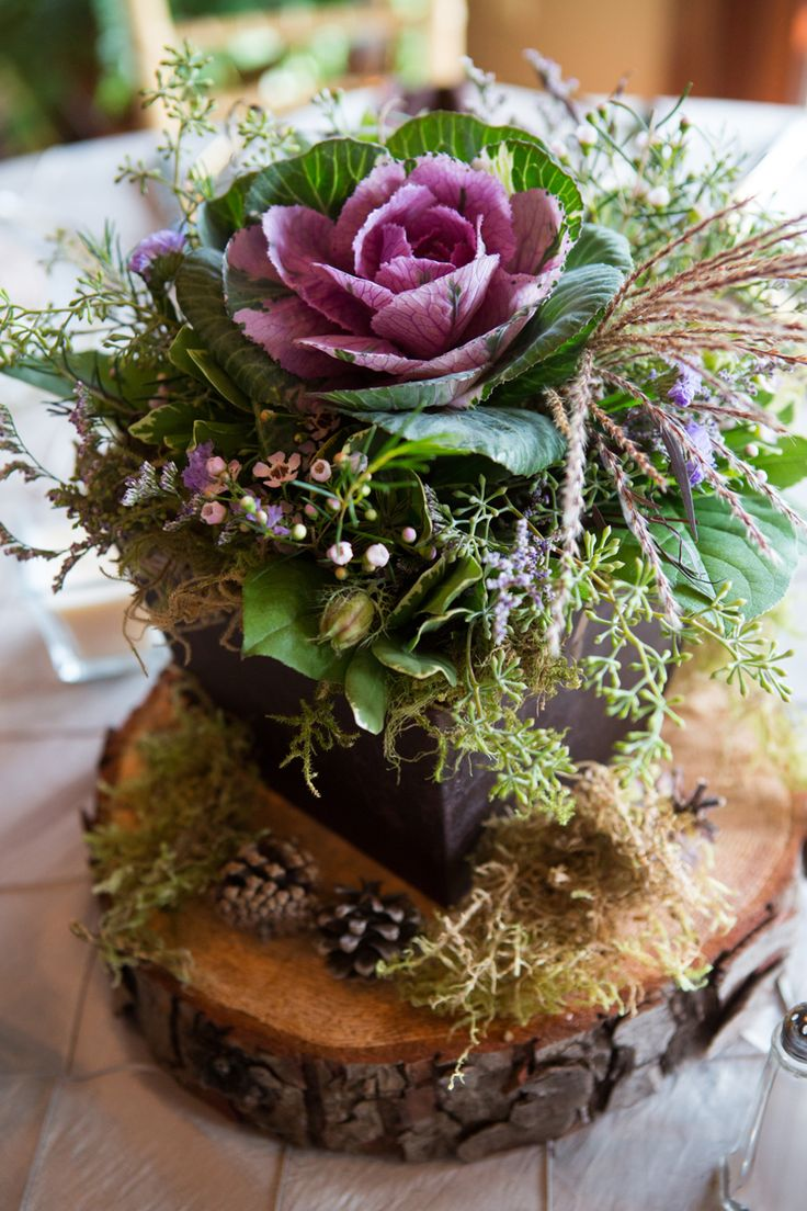 Kale centerpiece on a log by www.floraldesign.me