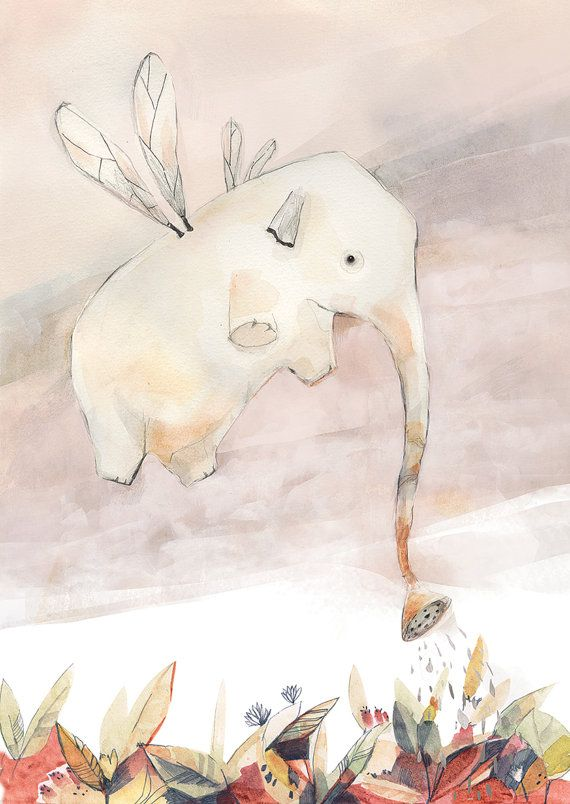 Dewie - Jenny Lumelsky:   Elephant flying and watering those below - Print, This…