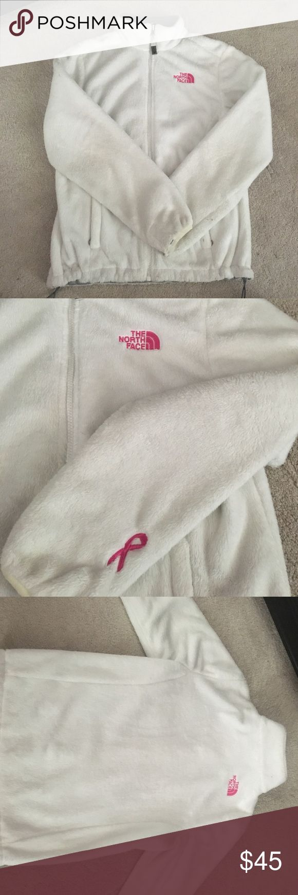 White North Face fleece jacket Breast Cancer Awareness North Face jacket 💕 White fleece with pink logo and ribbon on the arm. Size small. in good condition ! North Face Jackets & Coats