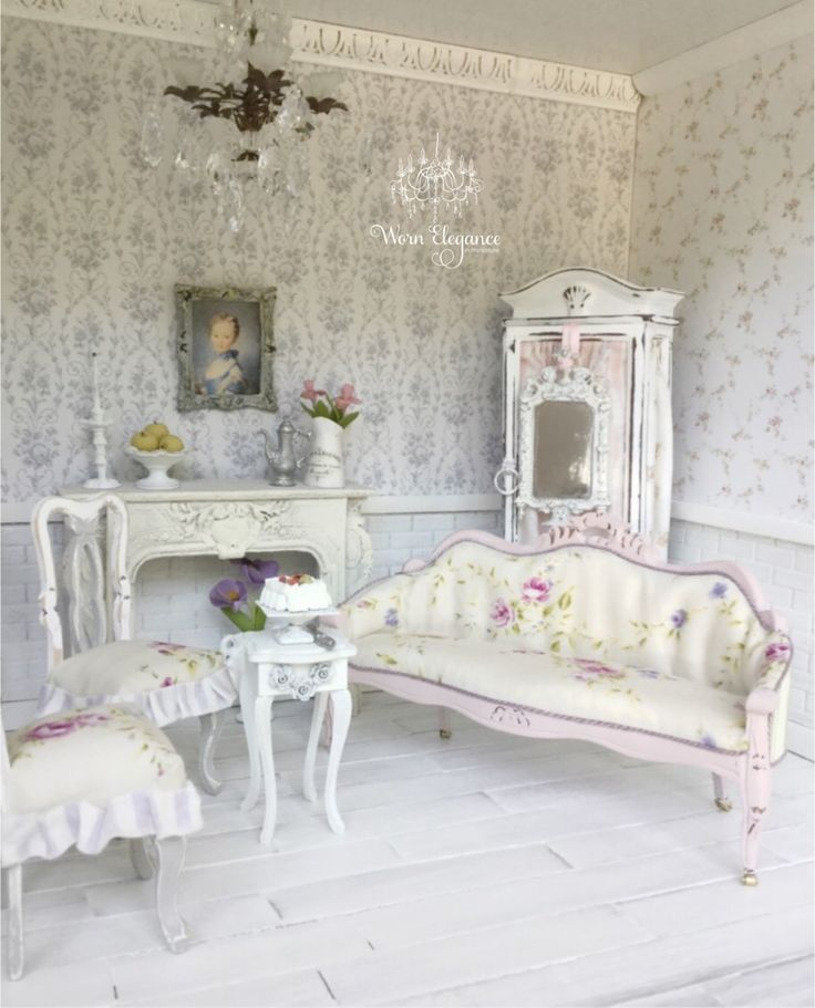 Dollhouse Miniature Shabby Chic Sofa, 1:12 Heidi Carlisle for Worn Elegance on Etsy