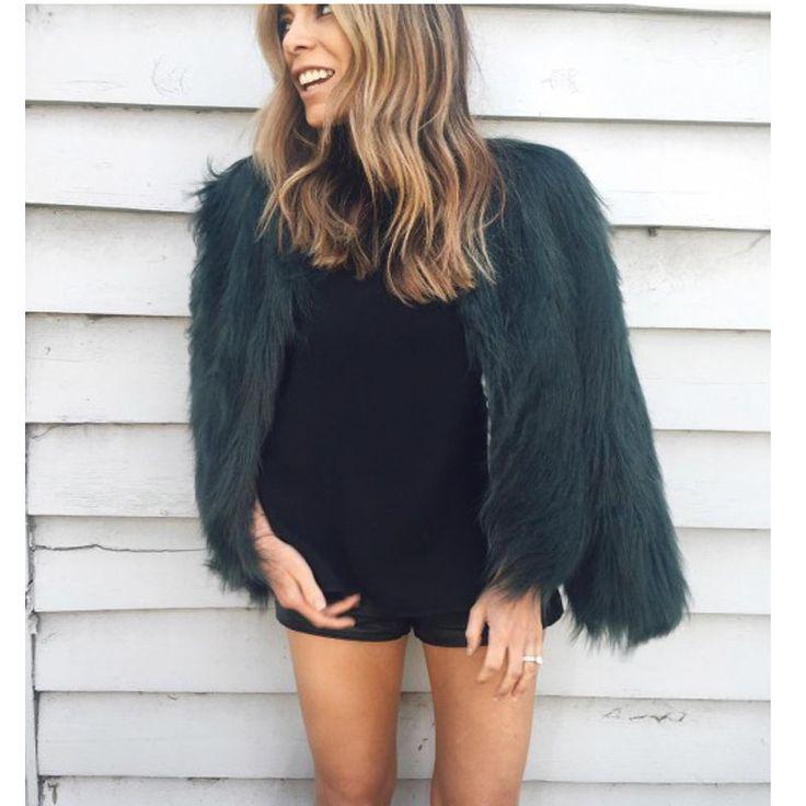 2017 Winter Coat Women Fur Coat Green Fashion Plus Size Slim Faux Fur Jacket Streetwear Manteau Fourrure Femme Fake Fur Coats