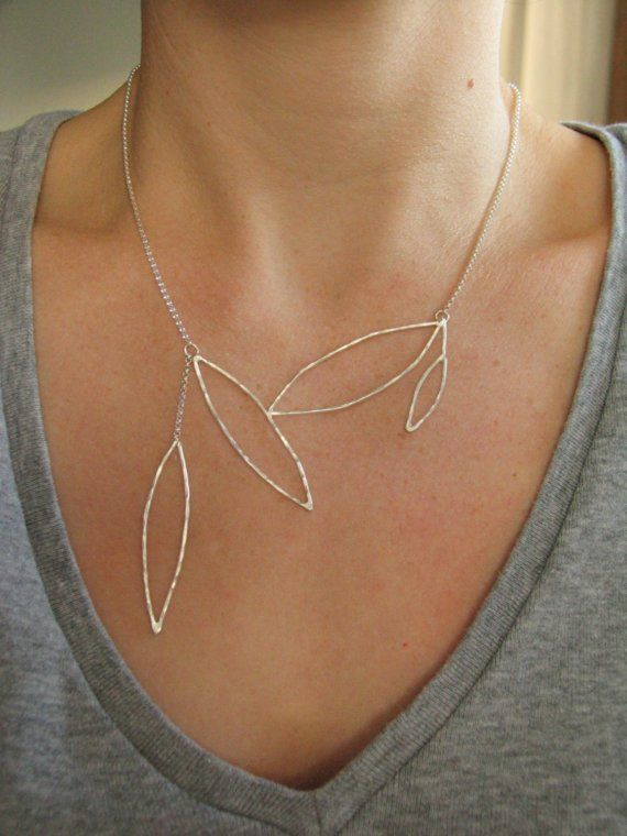 Delicate silver leaf necklace