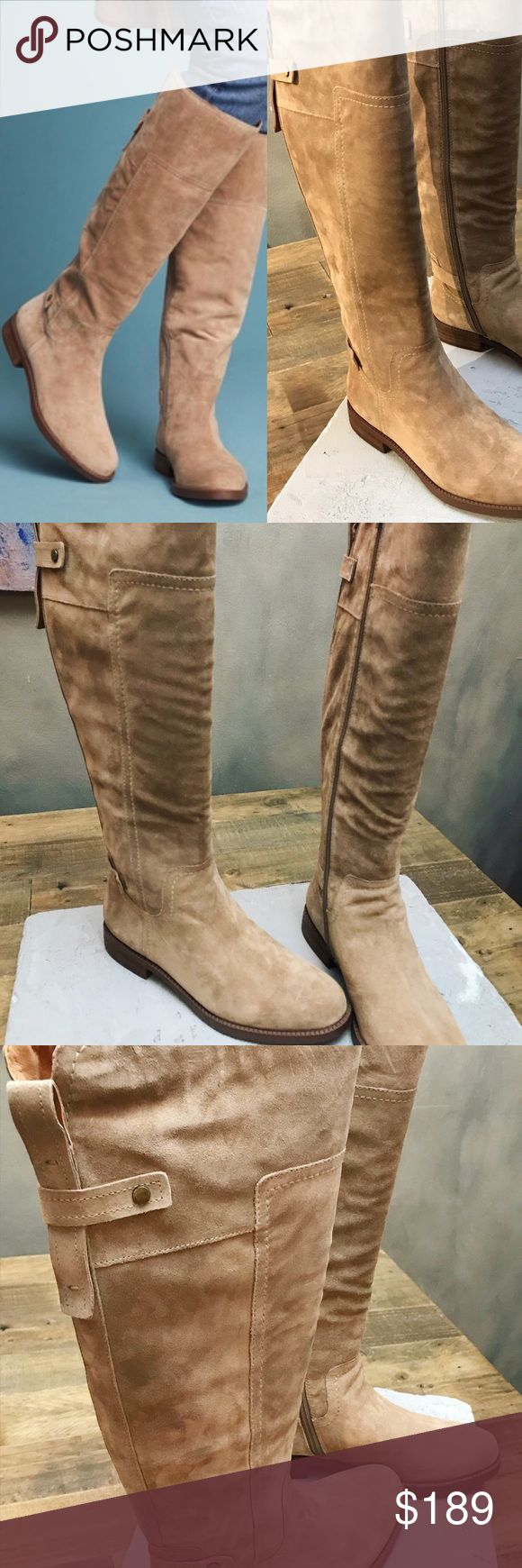 Anthropologie Sarto Franco Coley Riding boots sand Anthropologie Sarto by Franco Sarto Coley riding boots. Sand color suede. Flat soft and very comfortable.  New in box. Franco Sarto  Knee high riding boots Suede  Color: Sand Anthropologie Anthropologie Shoes Winter & Rain Boots