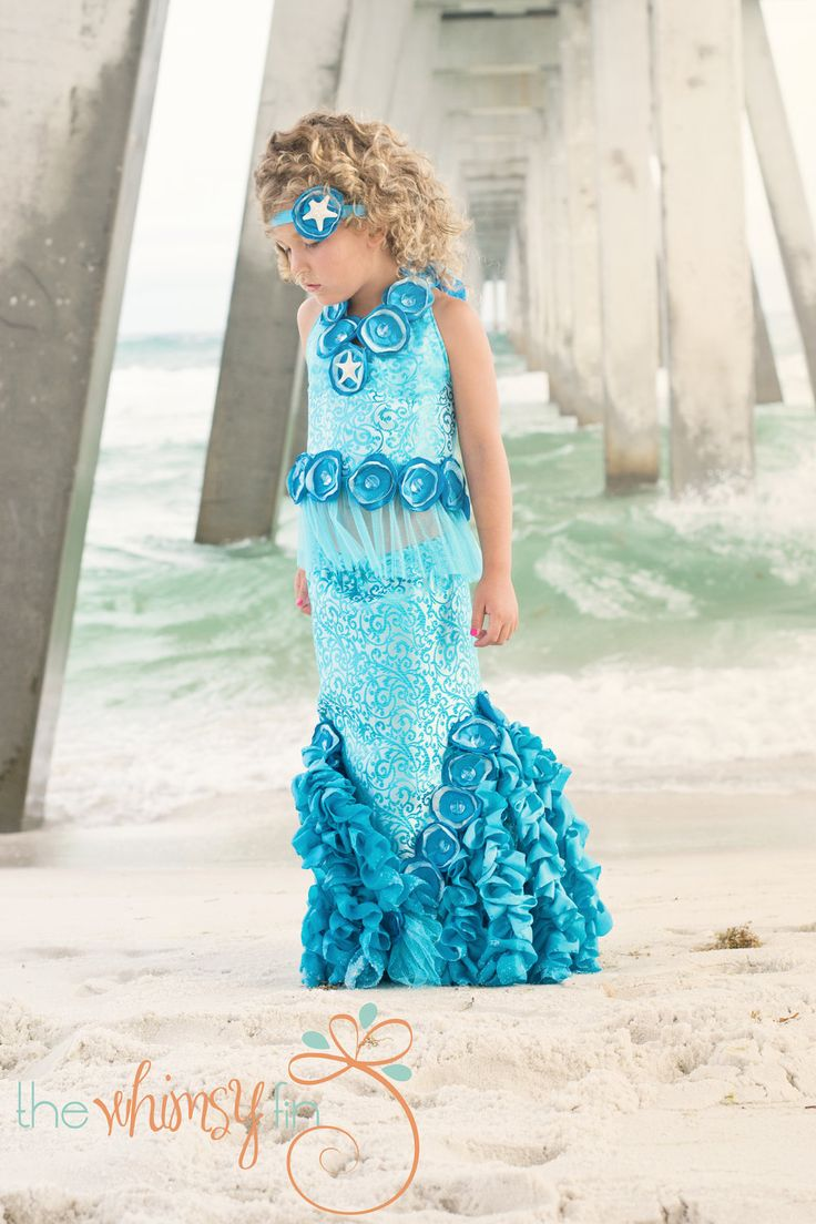 introductory sale-POSEIDON'S CRUSH MERMAID Costume-Dress Up, Portraits, Birthday, Pageant, Halloween-Little Girls (sizes 2-8). via Etsy.