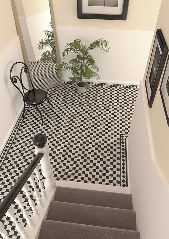 Victorian White Black Checkboard Mosaic Vitrified Porcelain Tiles In 2018 Kitchen Tiled Hallway