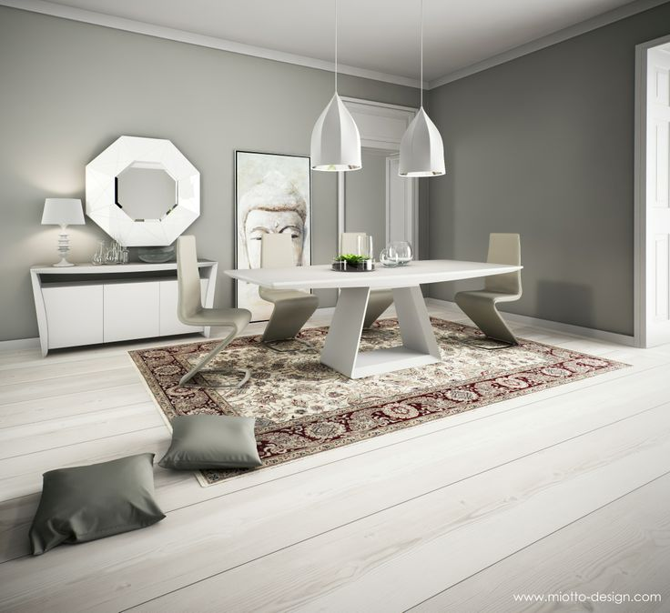 Doria dining table and buffet in matt white colour contrasted with tibero dining chair in · dining chairstable lampsdining