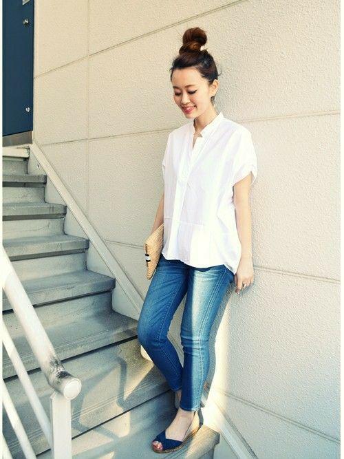 程よいダボット感あるシルエットがおしゃれ♡40代アラフォー女性のスキッパーシャツのコーデ♪
