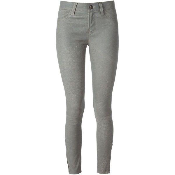 J Brand Skinny Trousers (10,910 MXN) ❤ liked on Polyvore featuring pants, capris, jeans, grey, zipper pants, j brand, cropped pants, cropped capri pants and grey skinny pants