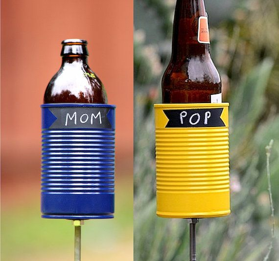 Pair of Chalkboard Hobo Tin Can Beer Holders/ Chalk Up Garden Drink Holders-- Choose Your Colors