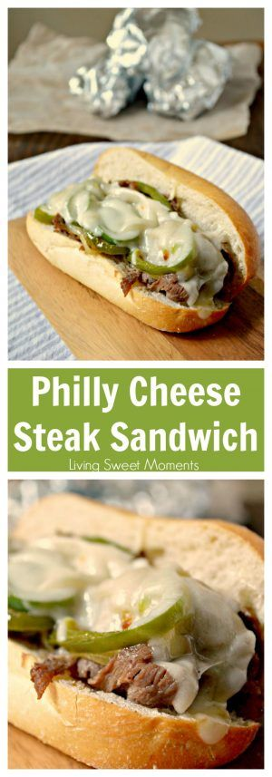 Easy Philly Cheese Steak Sandwich Recipe  - this easy weeknight dinner idea is made in no time and has so much flavor! Enjoy authentic flavor in one bite
