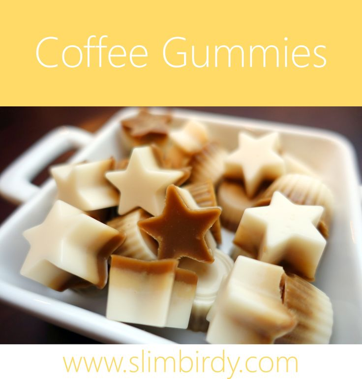 Pretty striped gummies that taste amazing too. Coffee, Peanut Butter and Vanilla. Gut healthy gelatin and coconut cream - super yum and easy to make. Recipe: http://slimbirdy.com/2016/10/22/coffee-gummies/ #coffee #gelatin #gummies