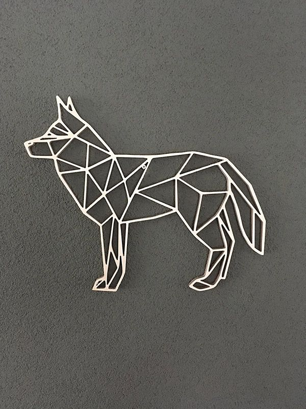 39e03a0d62e7 Wooden geometric animals for wall wolf