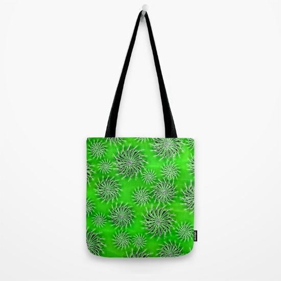 Abstract Spinning Stars Green Pattern Tote Bag
