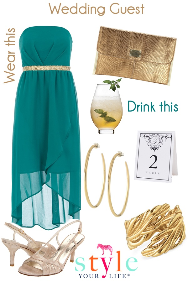 Summer Wedding Wear - I dislike those shoes, and i wish the jewelry was silver, but I could work with this!
