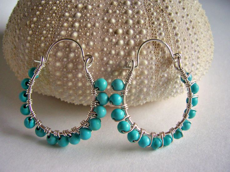 Turquoise and sterling silver wire wrapped hoop earrings, turquoise jewelry