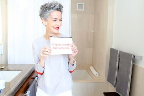 Catherine WalshGray Hair, Grey Hair, Lipsticks Inspiration, Style, Catherine Walsh, Silver Hair, Age Stylish, Beautiful Hair, Beautiful Girls