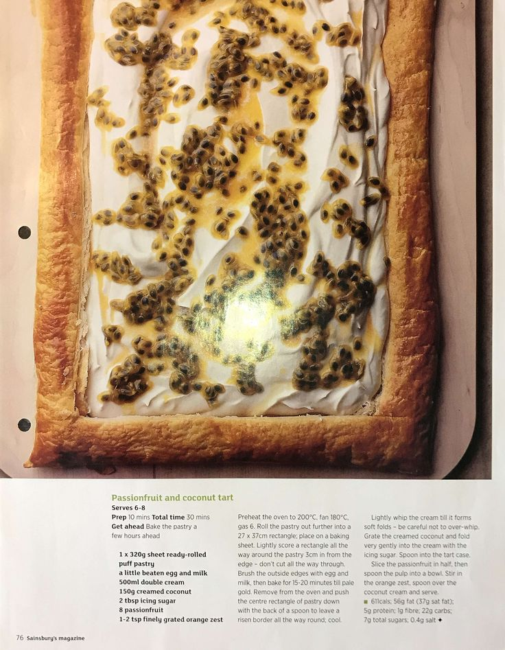 Passionfruit and coconut tart