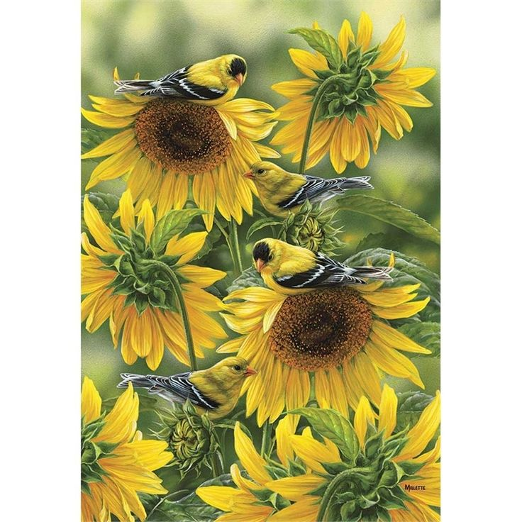The Summer Beauties Goldfinch Flag is printed, standard size, and looks great hanging off a cabin porch.