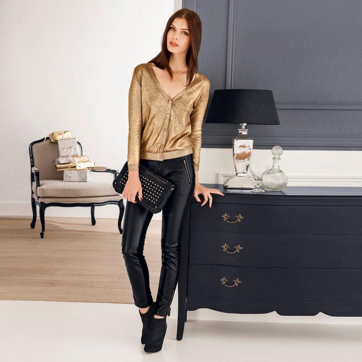 Cardigan elegant auriu - Tinuta casual business cu cardigan auriu