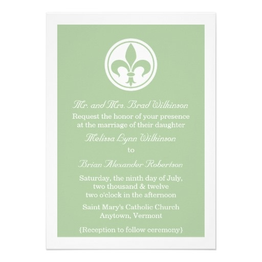 Chic Fleur De Lis Wedding Invite, Sage